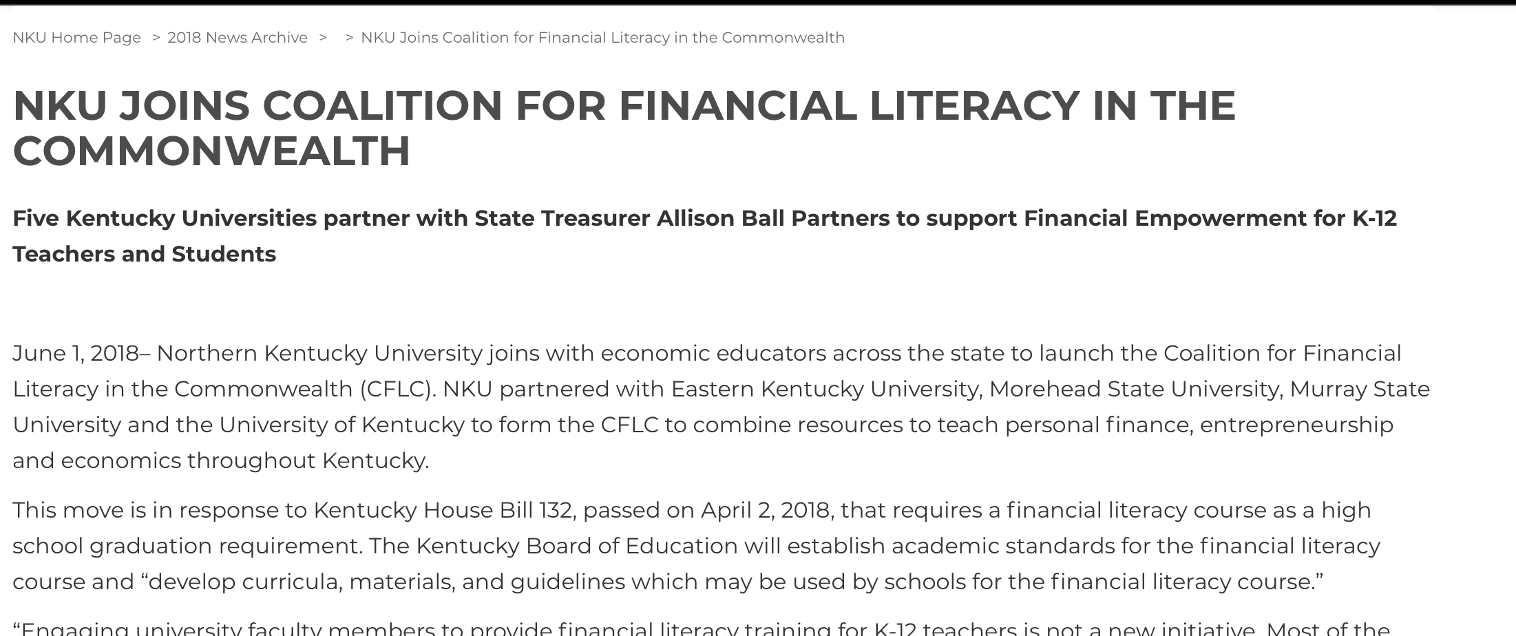 NKU Joins Financial Literacy Coalition - Five Kentucky Universities partner with State Treasurer Allison Ball Partners to support Financial Empowerment for K-12 Teachers and Students.Read More