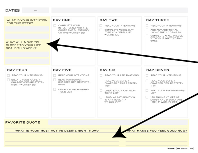 Download, print and complete the highlighted parts for day one.