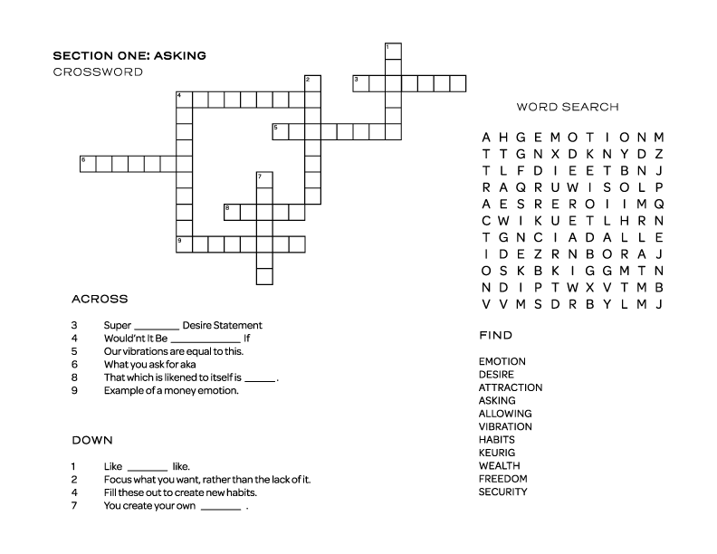 Fun & Games - Download the Crossw ord and Word Search that goes right along with Section one.