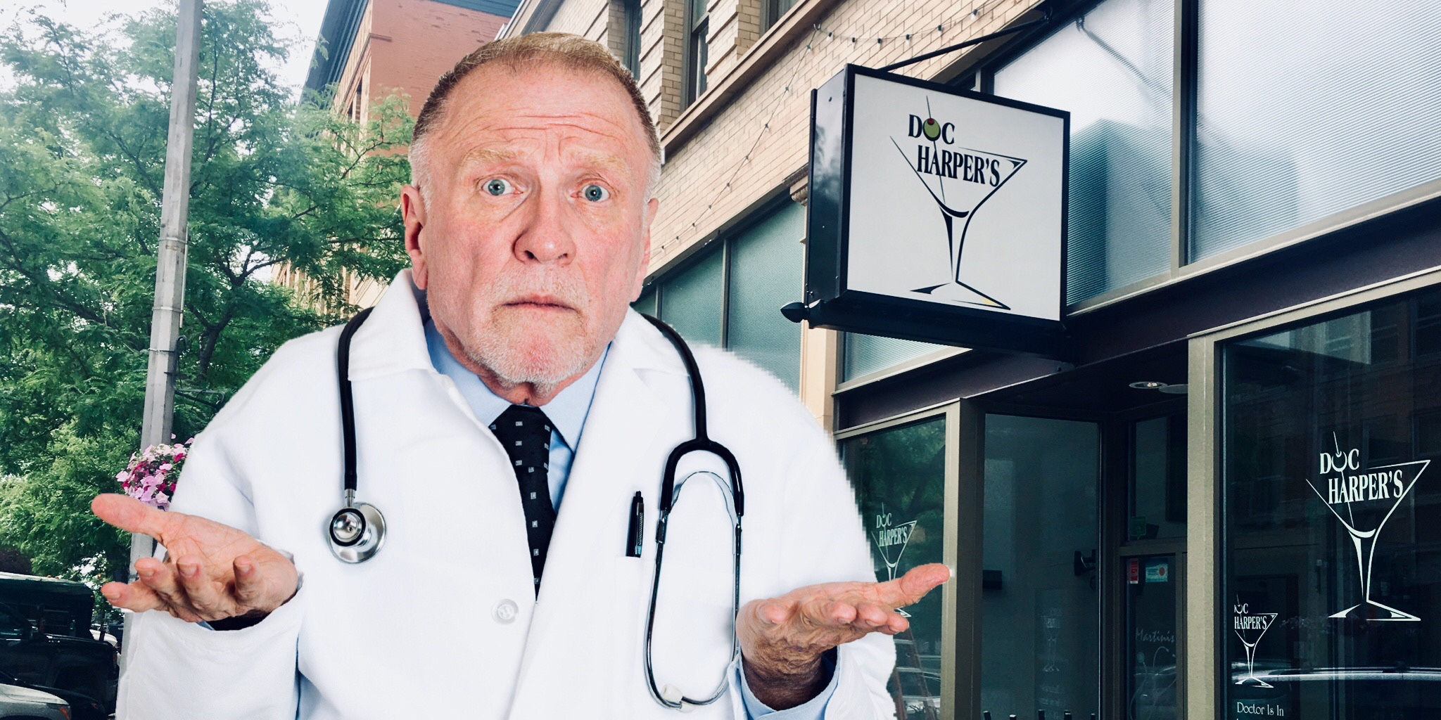 Doctor Harper, standing outside his former medical martini clinic