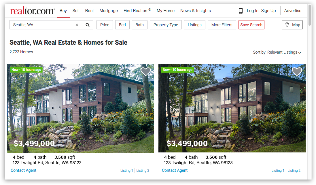 Identical listings but the twilight photo on the right is more eye catching