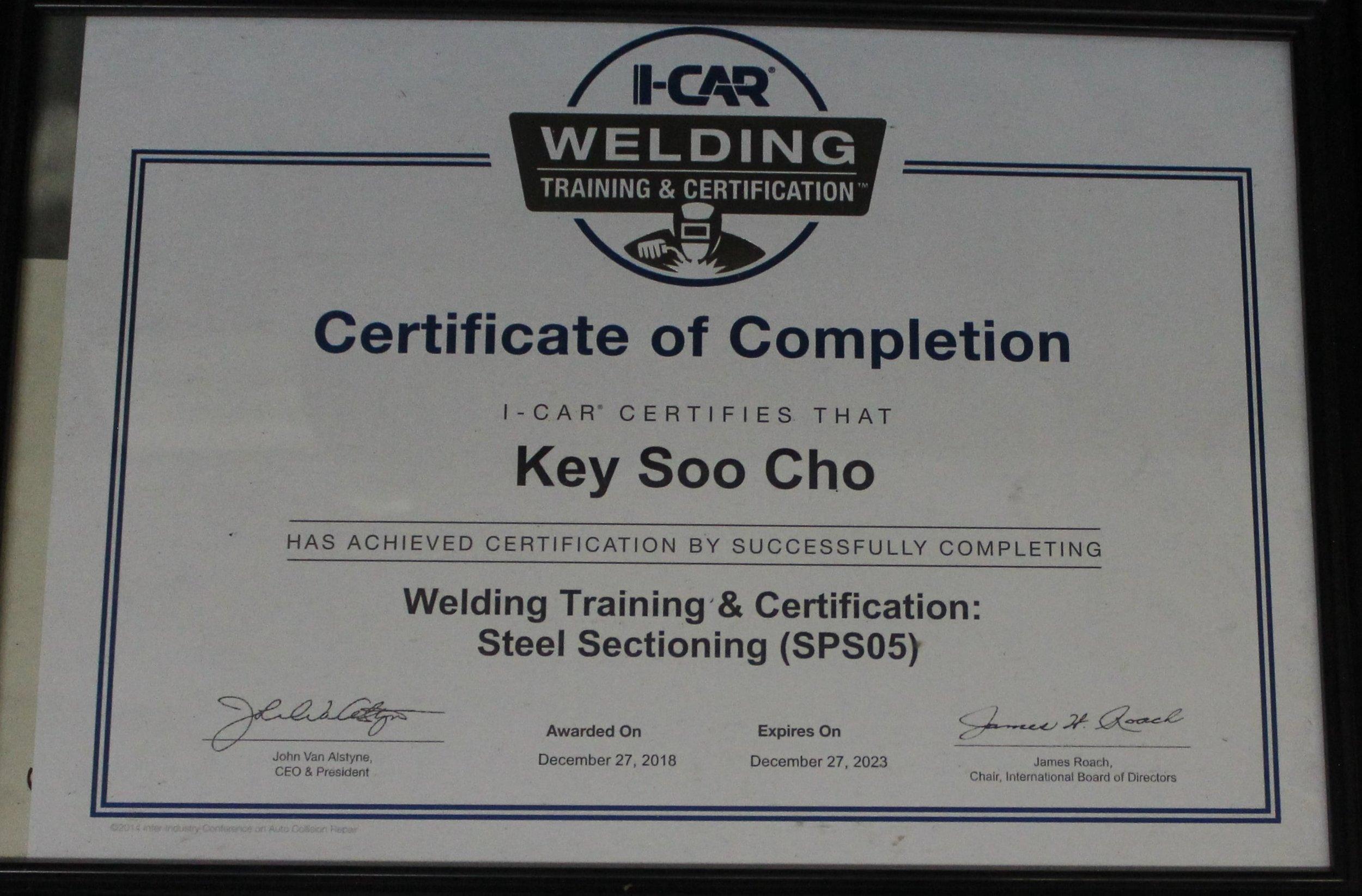 certificate cho's body shop.JPG