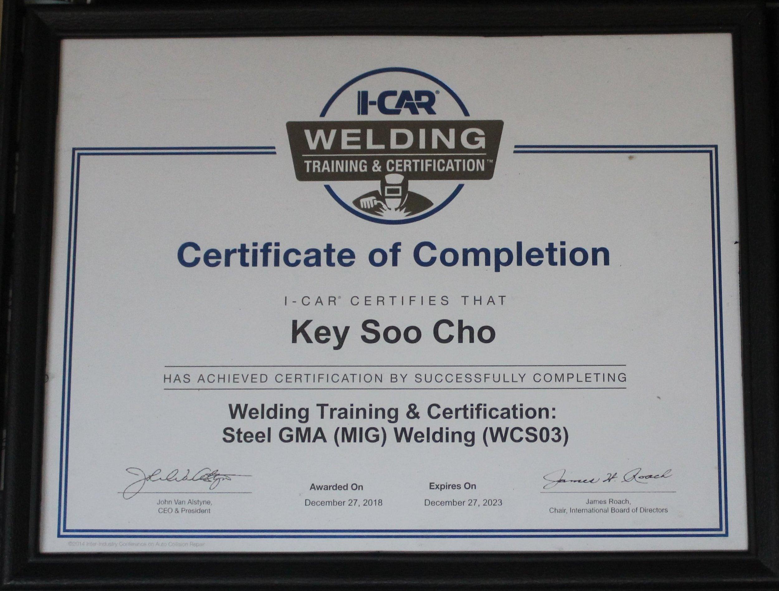 cho's body shop houston certificate.JPG