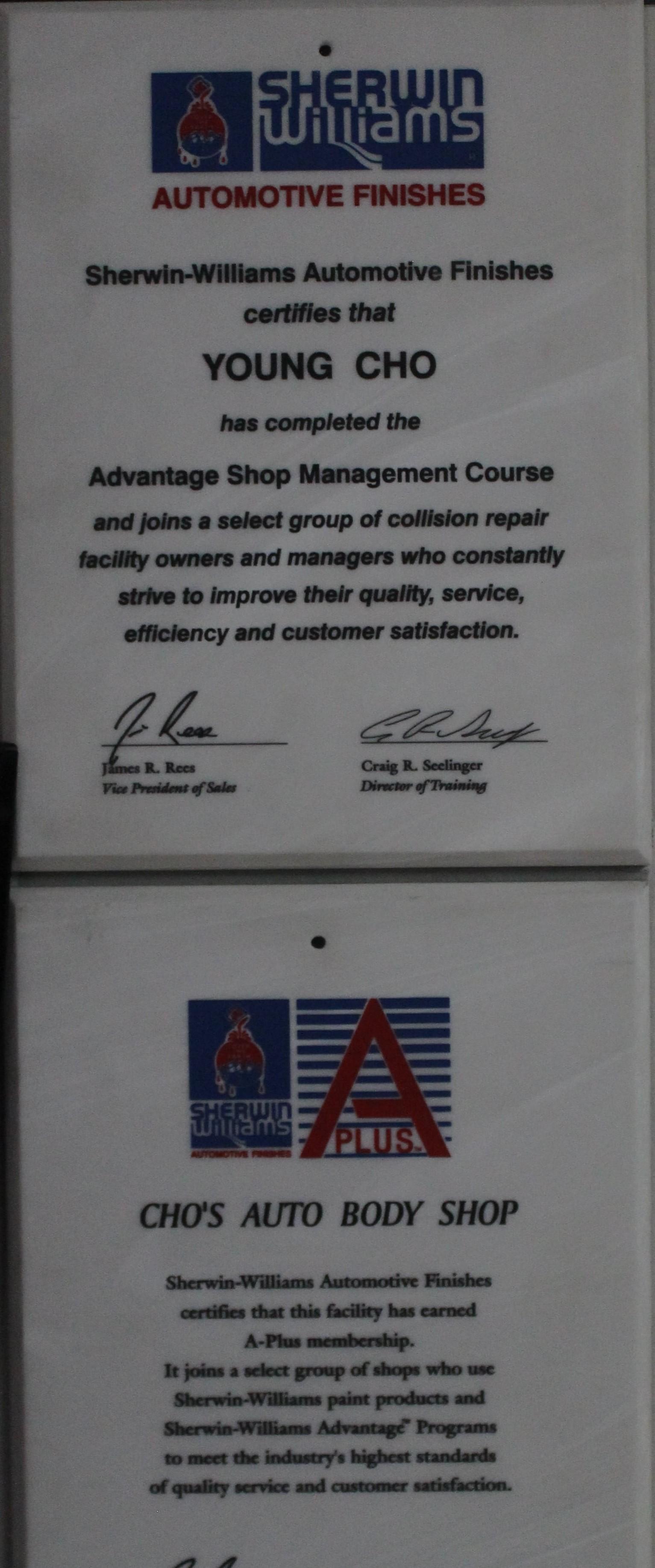 young cho certification sherwin williams.JPG