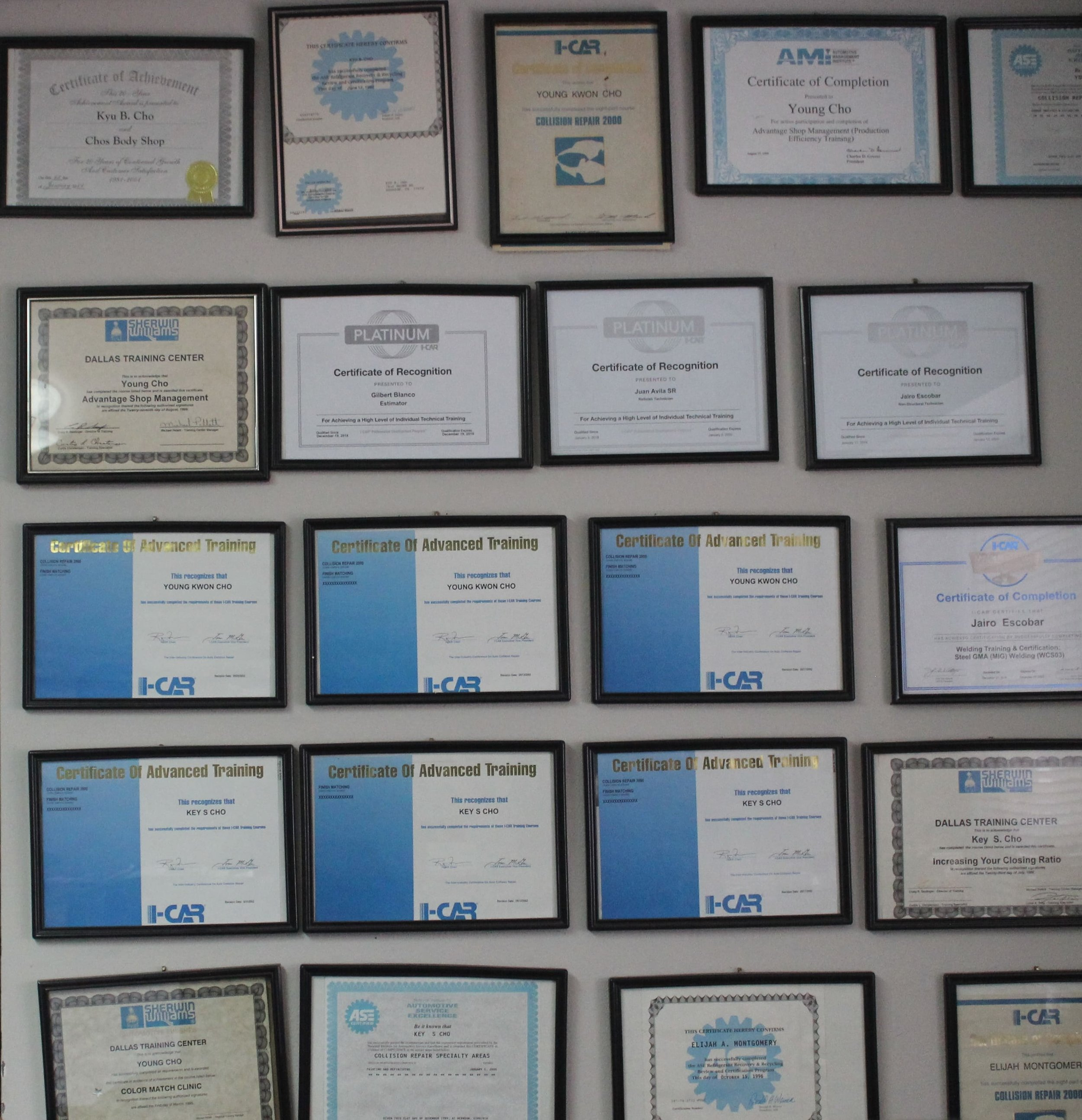 certificates for young cho body shop.JPG