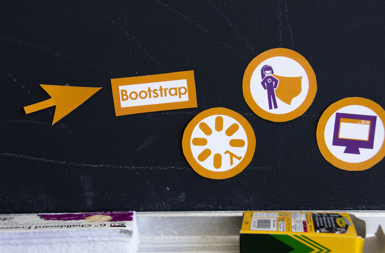 Bootstrap - Bootstrap represents education, computer science,math, learning, kids, teachers, parents, creativity,technology, growth, and video games. It representsa forward movement in education andproject-based curriculums. It represents fun andexcitement in the classroom while learning math and coding. The Bootstrap brand identity needed to capture all of this. So much research and thought went into the design of this brand identity. A human centered design approach was utilized by on-the-ground research. Visit them here www.bootstrapworld.org.