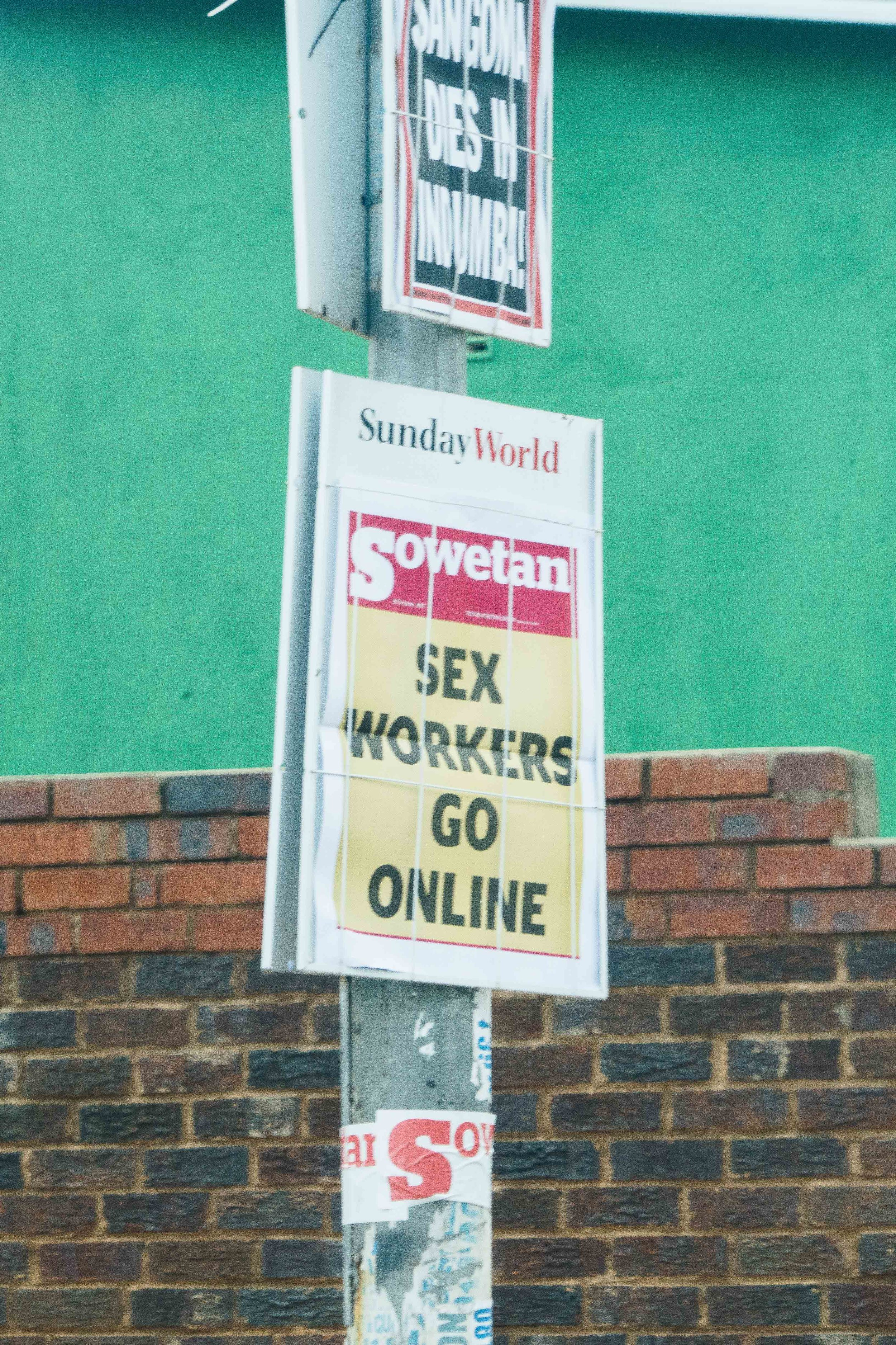 """A change of pace...in the category of """"things you wouldn't see at home,"""" here's a sign on a telephone post."""