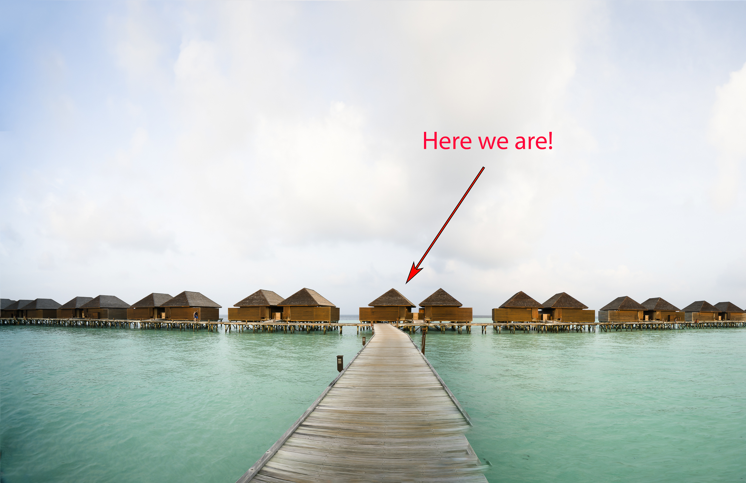 """Our """"Water Jacuzzi Villa"""" is straight ahead, at the end of the pier. Luckily for us, we had one of the best villas in the whole resort."""