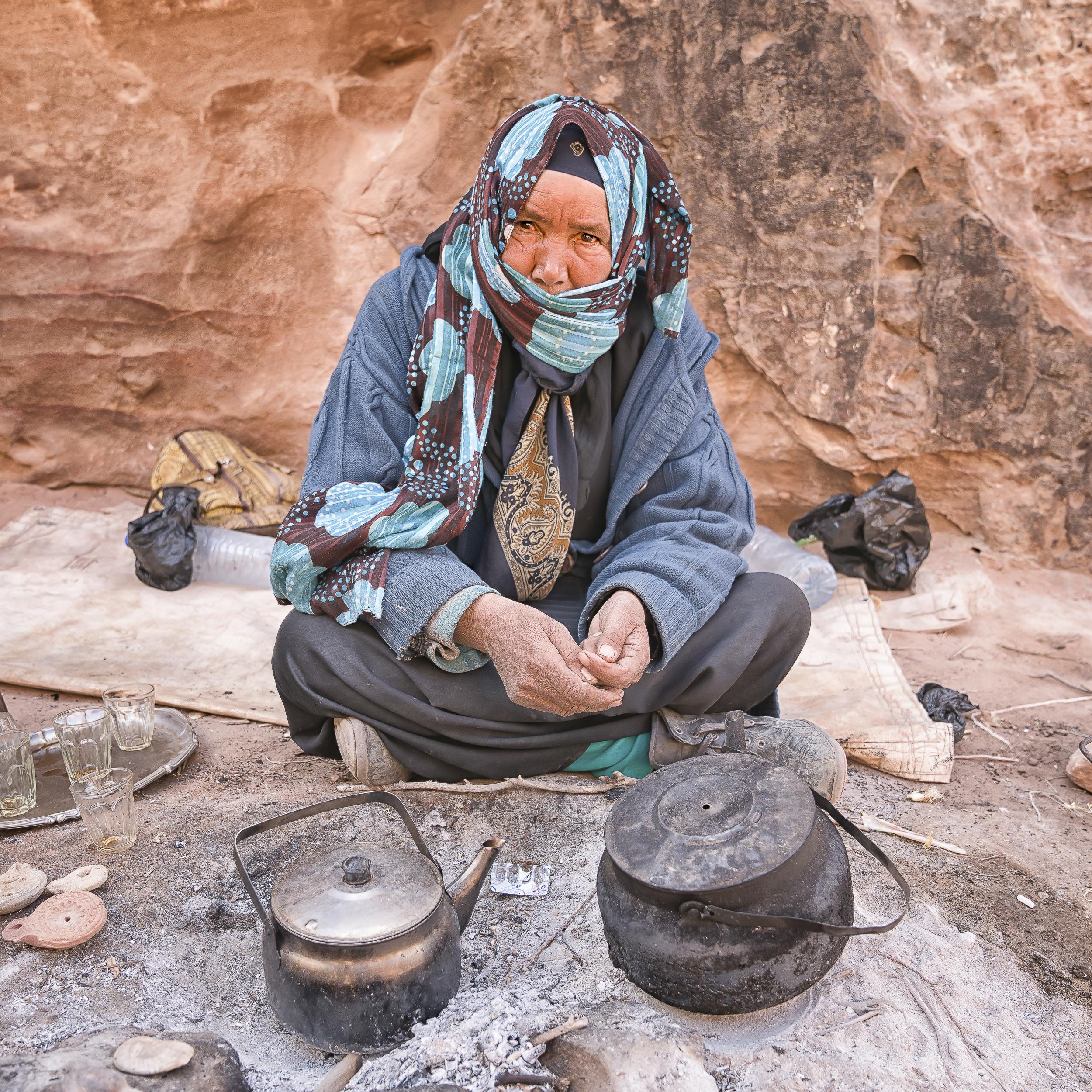 Bedouin woman serving tea