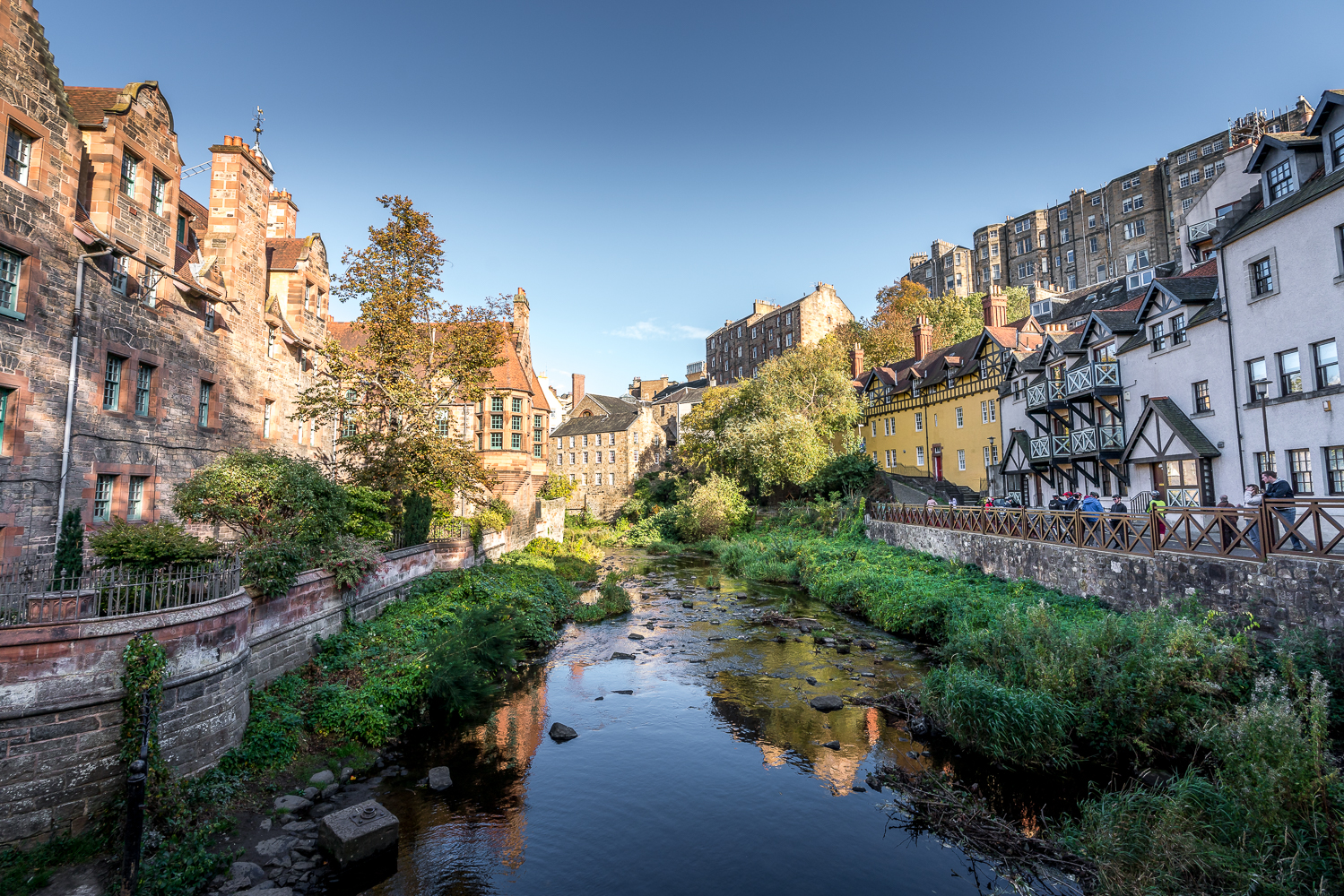 Dean Village, an enclave of quiet beauty just off the busy Royal Mile. Long ago, there were water mills here but now it's an oasis in the city for some very lucky people.