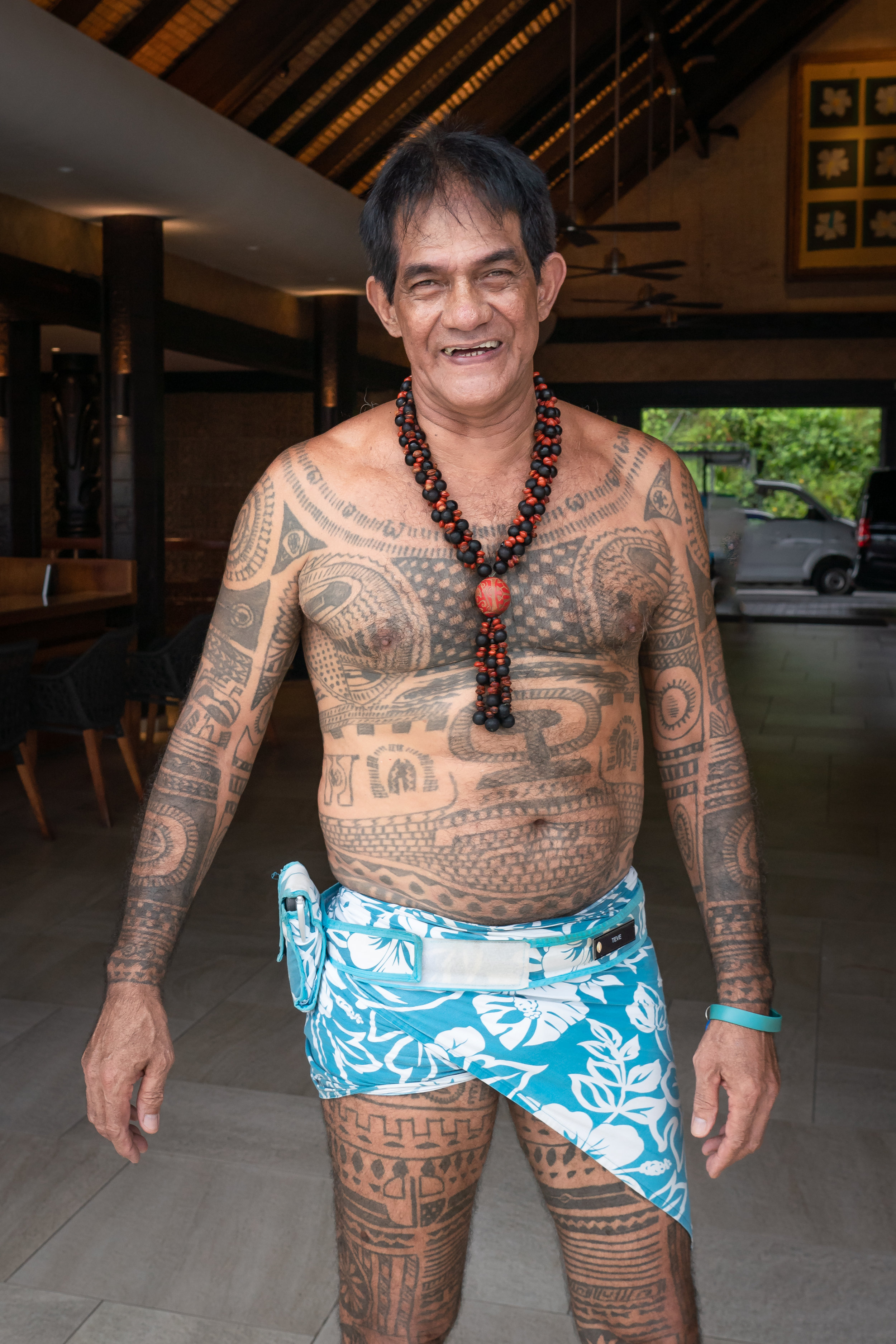 Meet Neve, who made his sarong with a built in cell phone holder.  He also said he had all his tattoos done in one sitting. Wow.