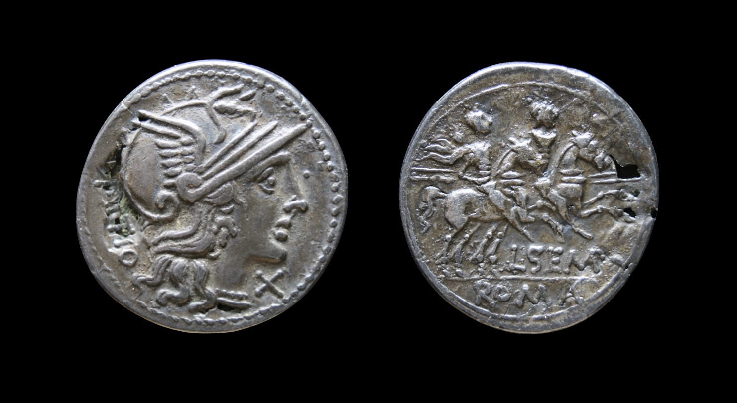 L. Sempronius Pitio (148 BCE). Fourrée denarius. Obv: Helmeted head of Roma right, PITIO to left, X (mark of value) to right. Rev: The Dioscuri galloping right, L.SEMP, ROMA in ex. 2.52g 20mm