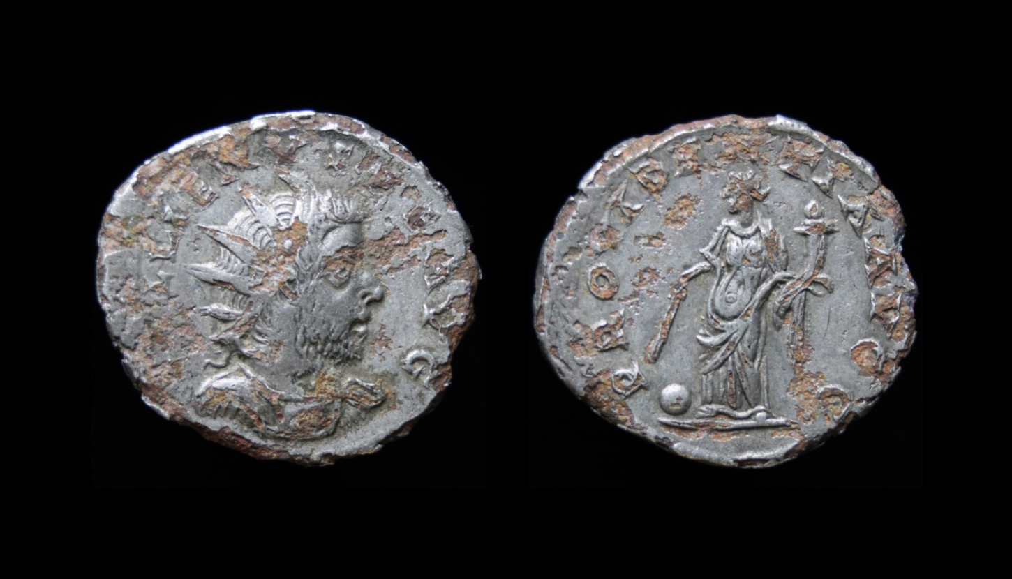 Gallienus, joint reign with his father Valerian (253-260 CE; issued 256 or later). Fourrée antoninianus. Obv: GALLIENVS PF AVG, Radiate, cuirassed, and draped bust right. Rev: PROVIDENTIA AVGG, Providentia standing slightly left, holding wand over globe at her feet, and cornucopiae. 2.95g 20.5-22mm