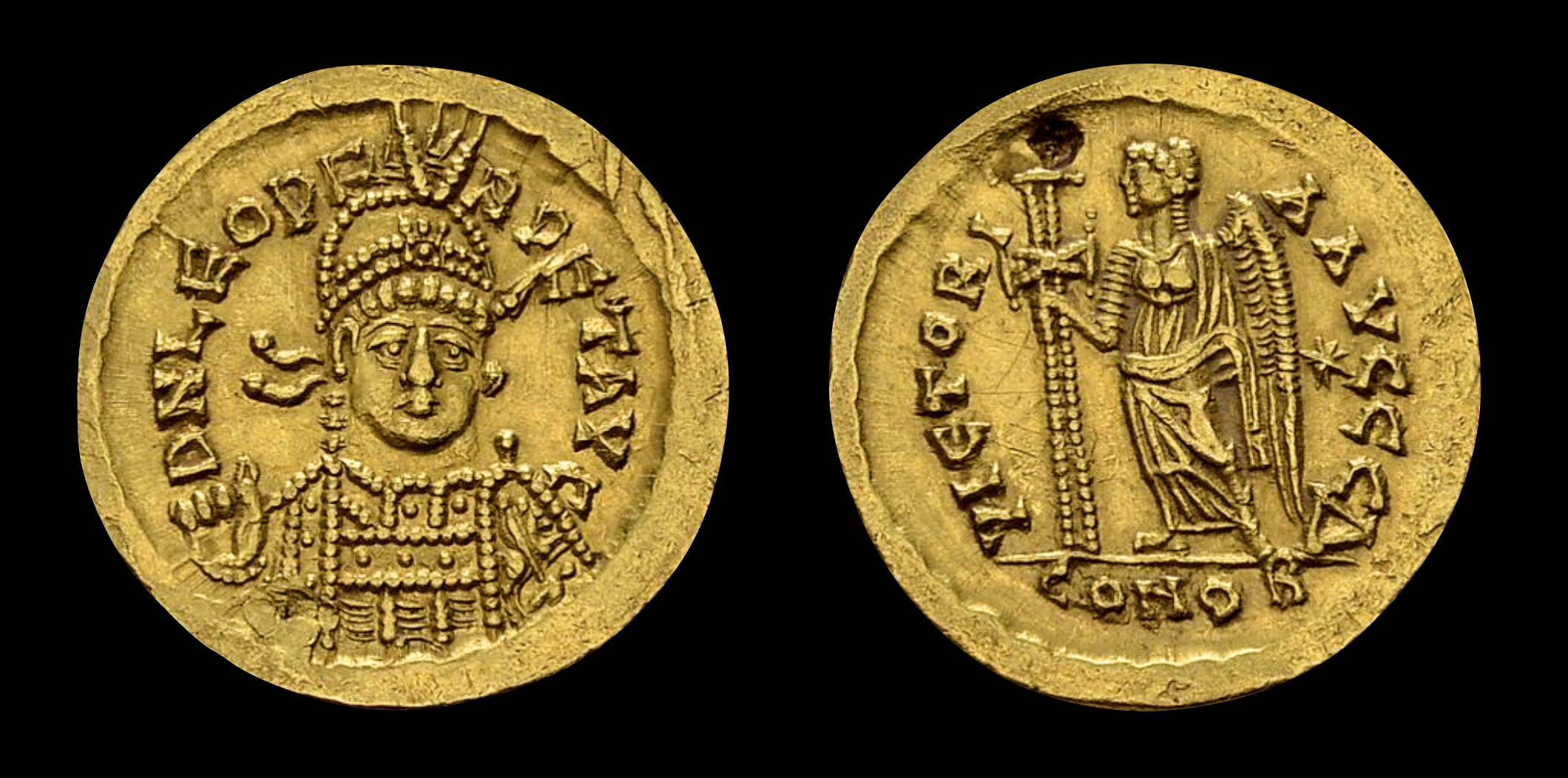 Leo I (457-474) AV Solidus (20 mm, 4.46 g), Constantinople, c. 462-466 AD. Obv: D N LEO PERPET AVC, helmeted and cuirassed bust facing slightly right, holding spear and shield. Rev: VICTORIA AVCCC Δ, Victory standing left, holding long cross; to right, star; CONOB in exergue. RIC 605.