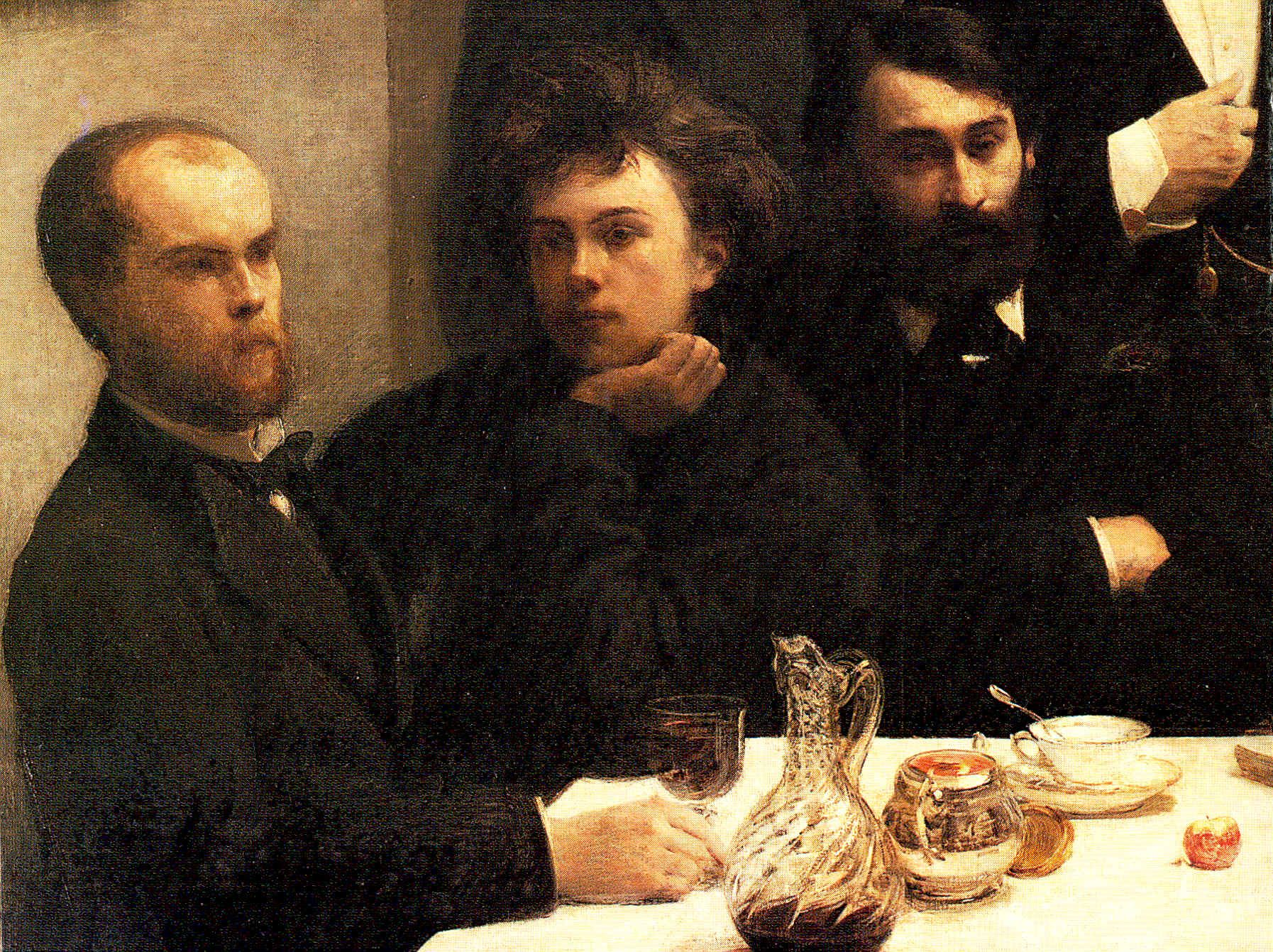 Detail:  By the Table , by Henri Fantin-Latour, a group portrait of French poets. This detail shows Verlaine (left) and Rimbaud seeming dreamy, conspiratorial.