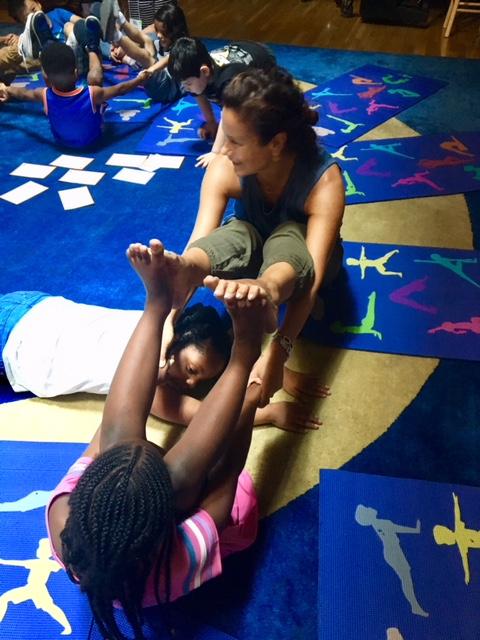 Partner Bridge Pose - Cassie & the kids at play.