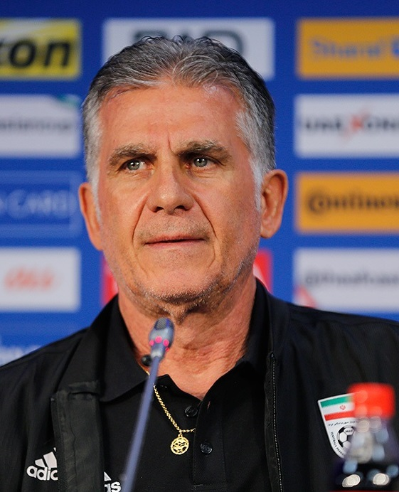 Carlos Queiroz at a press conference before his Iran side took on Iraq in the 2019 Asian Cup. Author: Mehdi Bolourian. License: https://creativecommons.org/licenses/by/4.0/deed.en.