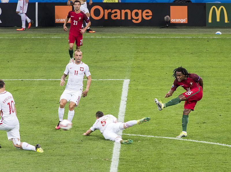Renato Sanches goal versus Poland at Euro 2016. Photo author:  Chensiyuan .  License link.
