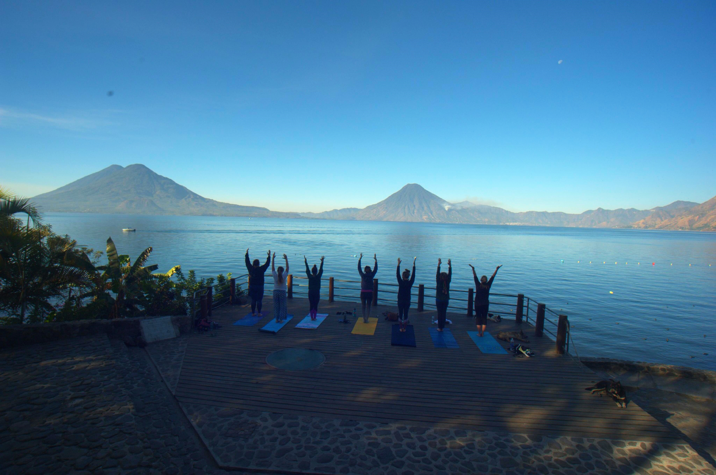 Sunrise yoga at Lake Atitlan, Guatemala