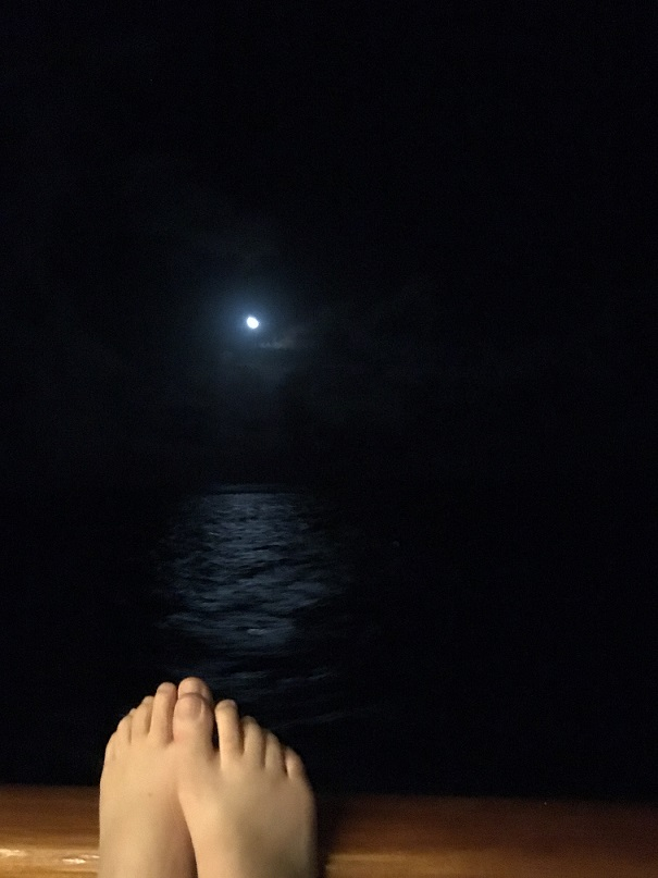 Watching the moon from ship balcony
