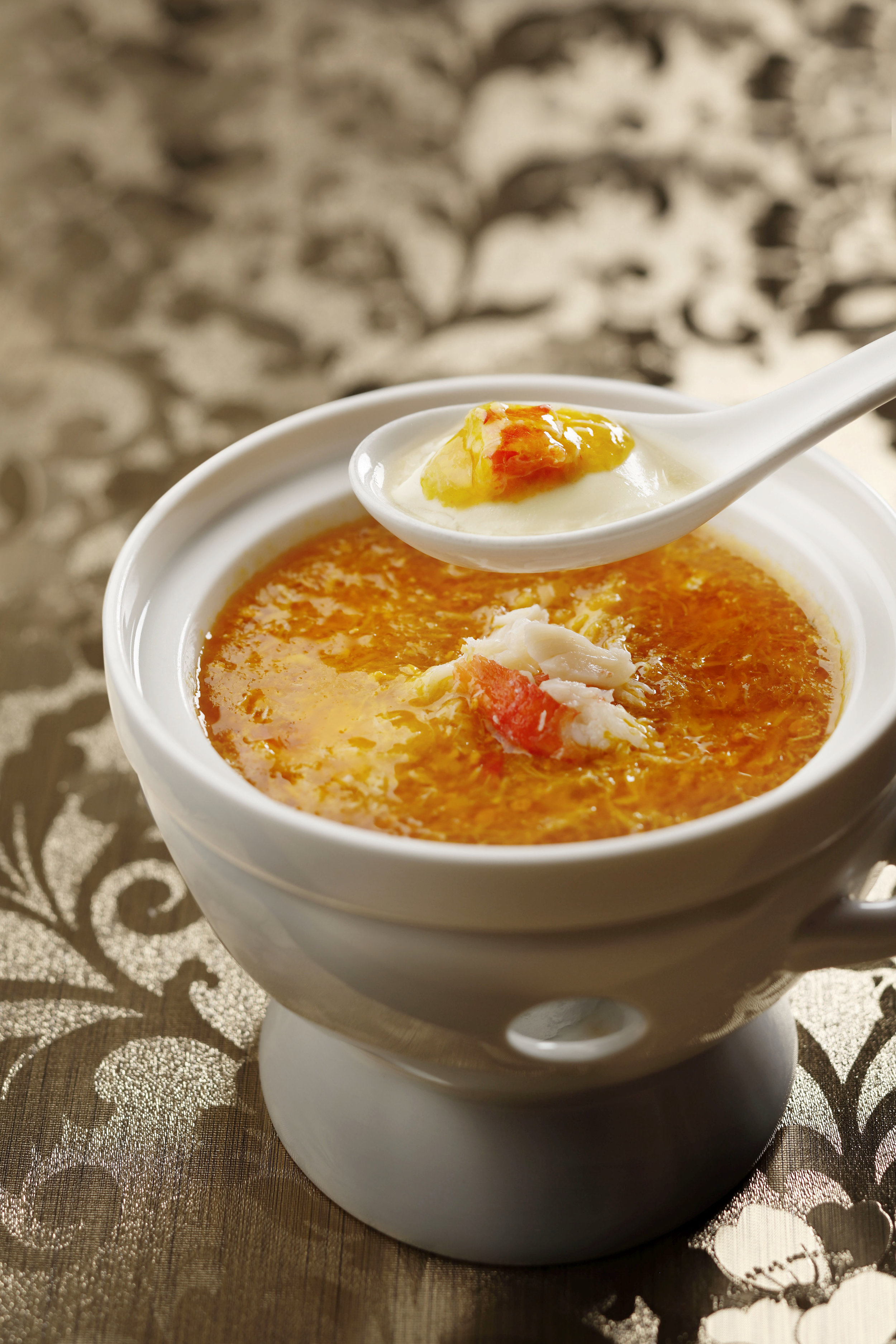 French Fois Gras Chawanmushi with Crab Meat Soup