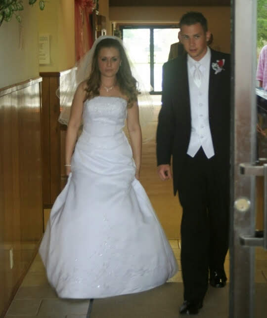 Walking out of the church to start our new life together. We had NO clue! Ha!