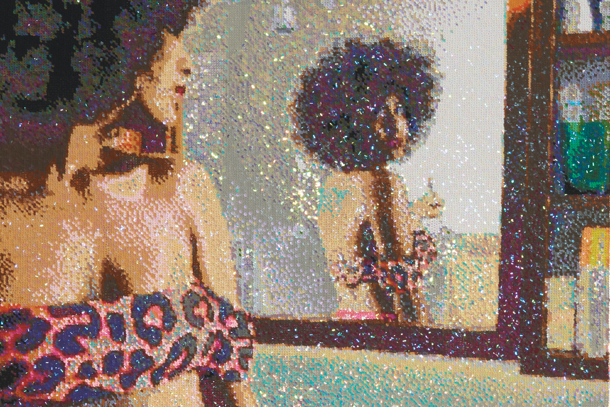 Art - The undeniable epicenter of Joburg's prolific, challenging and ever-evolving art scene, Keyes Art Mile plays host to both the city's most established galleries, as well as its defiant young contenders.Frances Goodman,Romancing the Mirror (detail),2018.Hand-stitched sequins on canvas,146 x 109cm.Image courtesy of SMAC Gallery