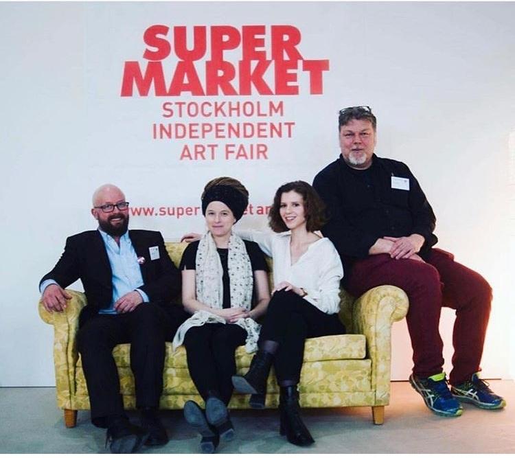 Three Creative Directors of Supermarket, Andreas Ribbung, Alice Maselnikova, Pontus Raud and the Minister of Culture Amanda Lind, Photo by  Anna Ekros