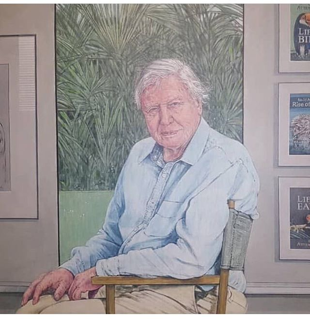 Sir David Attenborough portrait by Bryan Organ @theredferngallery  commissioned by the City of Leicester Museums Trust with the support of the generous donations of visitors to the city museums, 2016. #davidattenborough