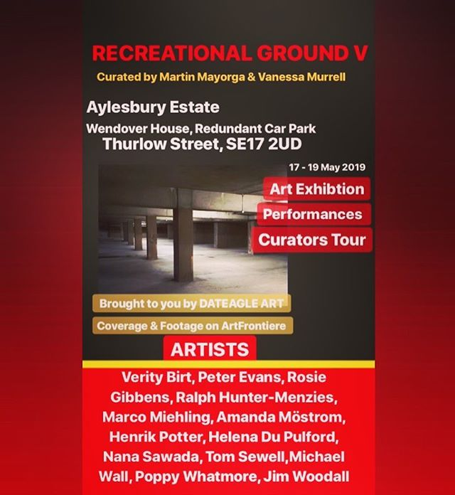 Coming up 🚨RECREATIONAL GROUND V @dateagleart 💥  48 hour open air art exhibition in the heart of London's redundant car park in Aylesbury Council Estate E17. Dubbed 'sink estate' will be replaced by modern dwellings by 2032, displacing thousands of residents, families and communities. Recreation Ground reclaims the turf for 48 hours with a series of art works & performances highlighting the precarious and fragile environment.