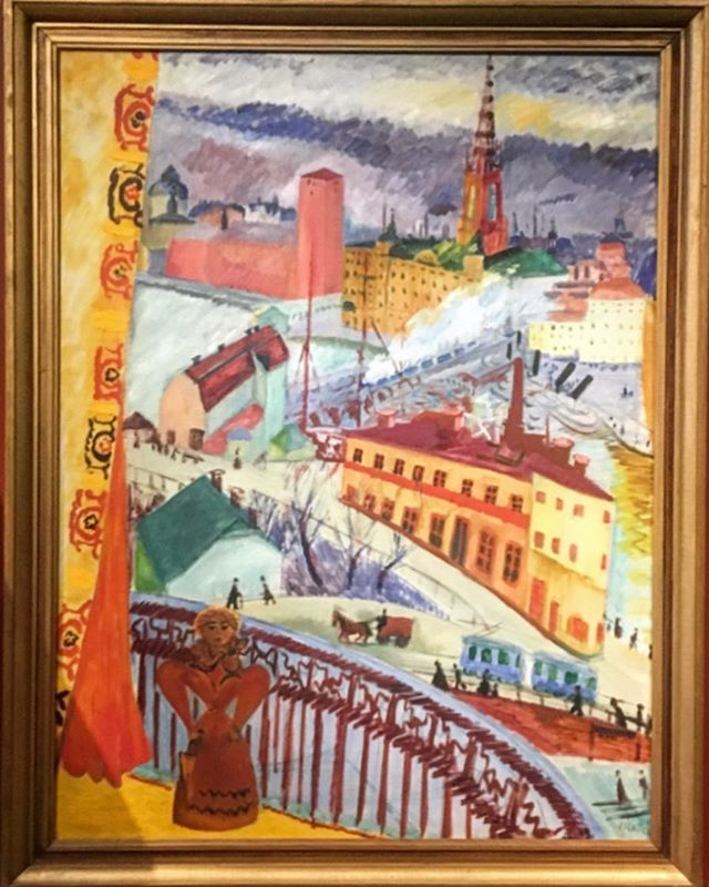 "SLUSSEN 💙💛 ""Utsikt över Slussen"" or ""View of Slussen"" (1919) by Sigrid Hjertén (1885 - 1948) Swedish Artist.  Sigrid Hjertén was an artist who was one of the leading figures of the Swedish modernist avant-garde movement. She was particularly acclaimed for her expressive use of colour. 😍 @stadsmuseet"