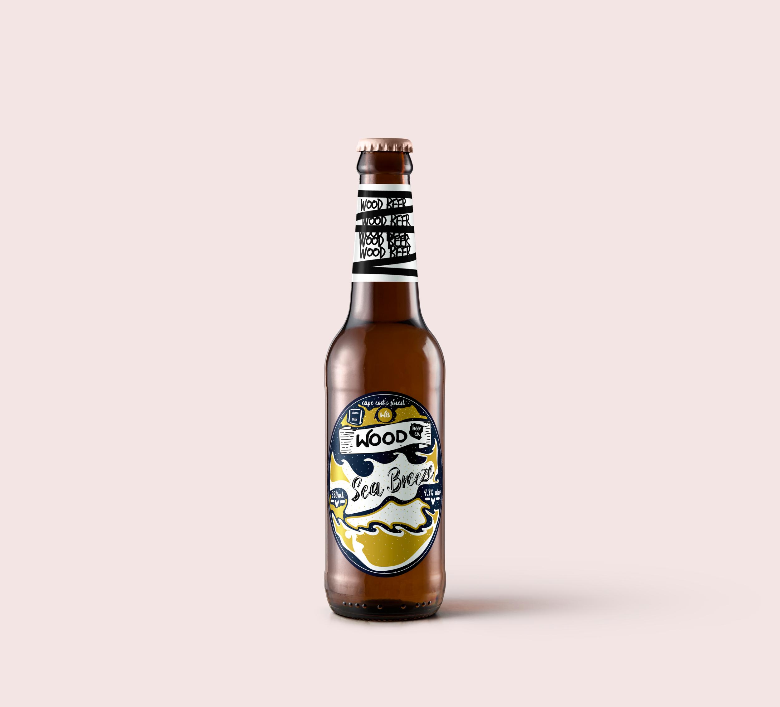 Wood Beer Label Design.