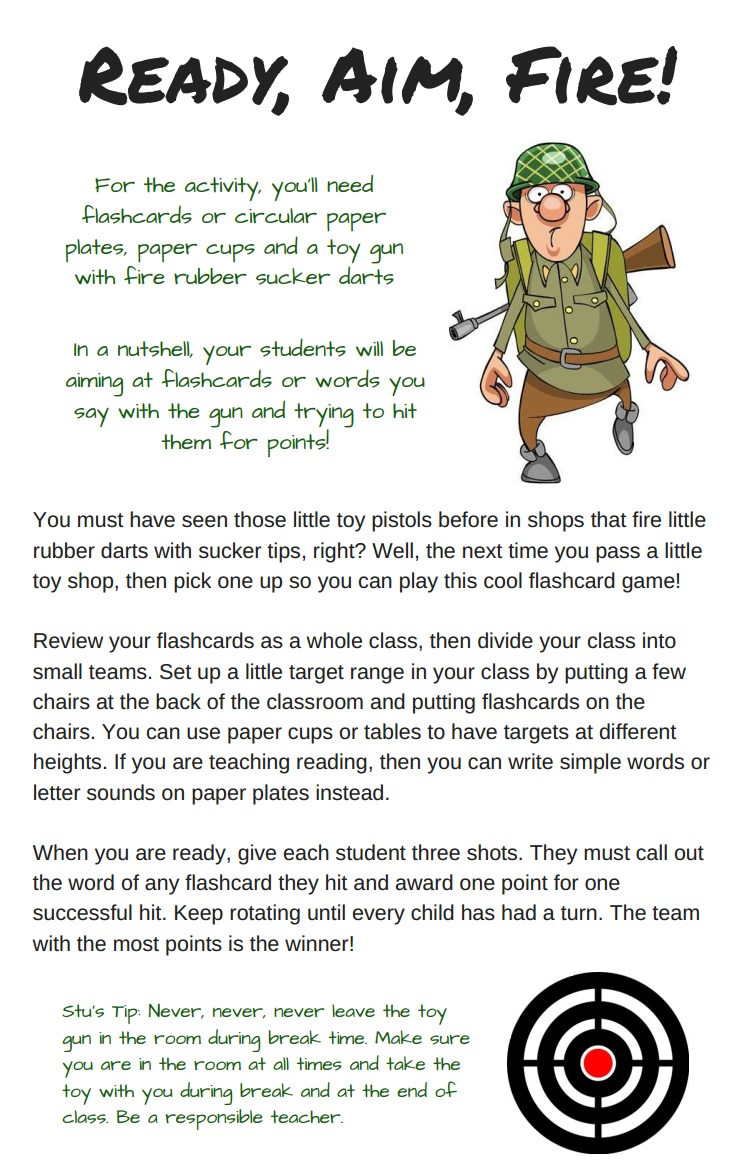 Esl Flashcard Game For Kids Ready Aim Fire Tefl Lemon Free Esl Lesson Ideas And Great Content For Tefl Teachers