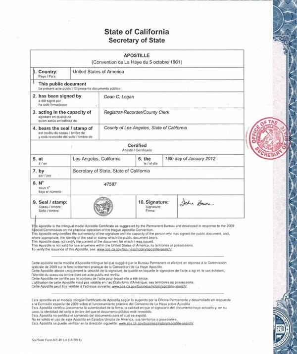 The above is an example of what notarization by your state's Secretary of State office might look like.