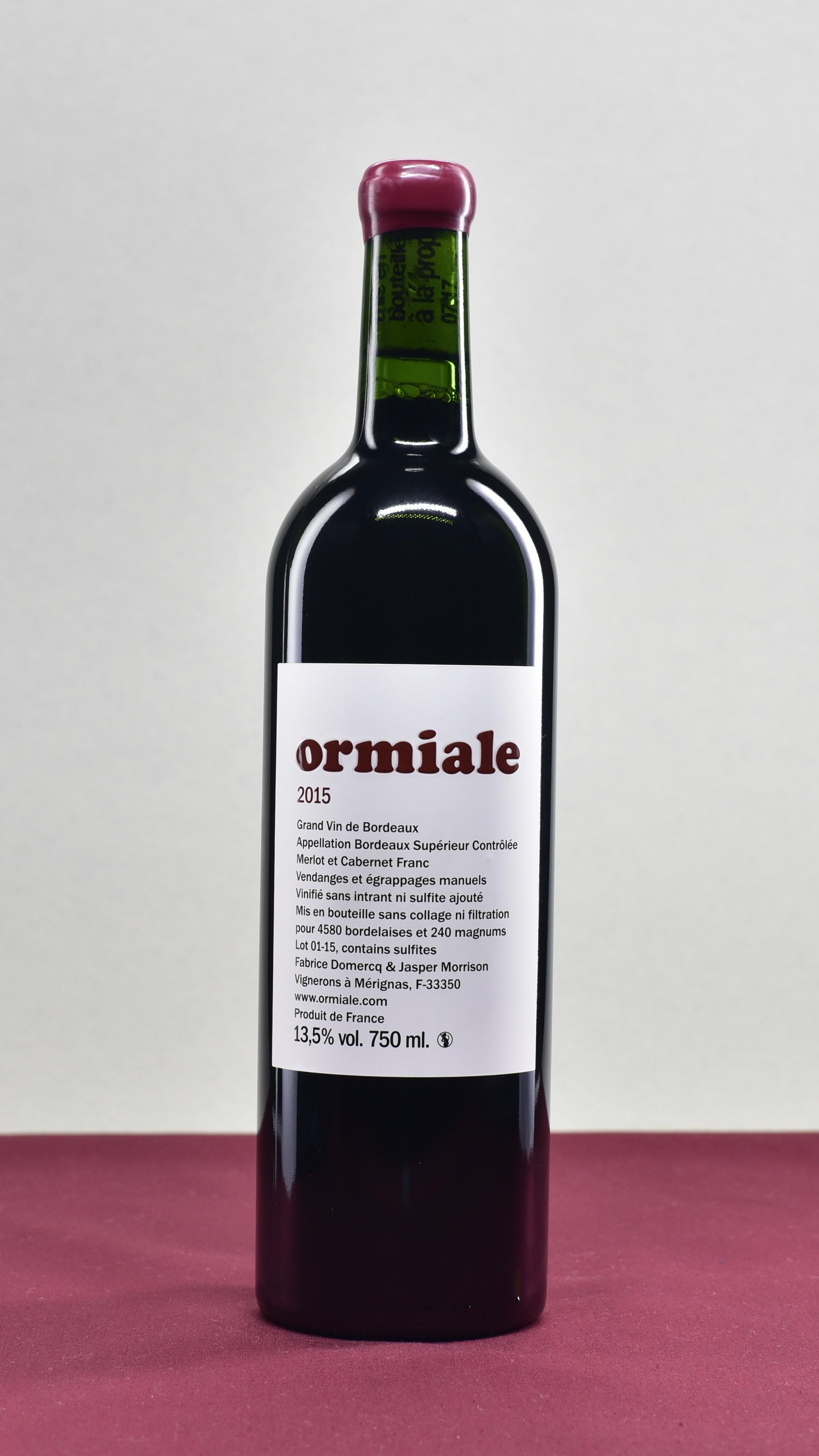 ORMIALE - Ormiale | Fabrice Domercq & Jasper Morrison Merlot & Cabernet FrancAOP Bordeaux Supérieur | 2015