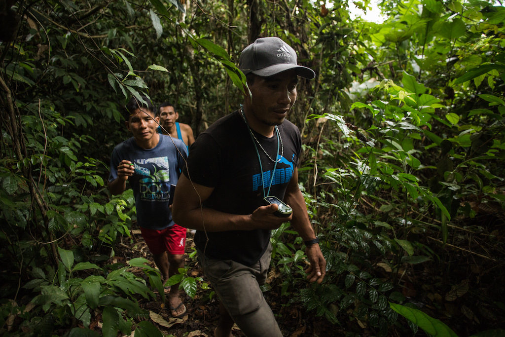 Felipe uses his GPS tracker to mark Matsés territory and sites of historical and ecological sites important to the Matsés culture.