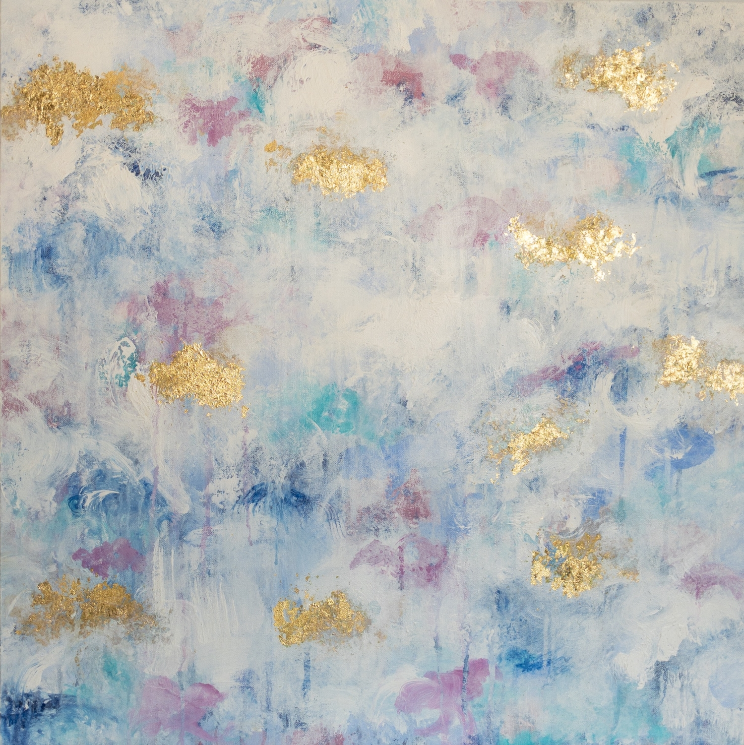 FLORAL 1  24x24  Acrylic and applied gold leaf on canvas