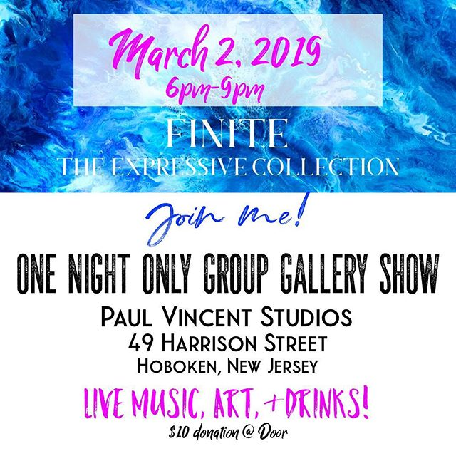 This Saturday! One night only✨At Paul Vincent Studios in downtown Hoboken💕 I have a couple of new pieces I'll be showing and I'll also be selling my original paintings from my past show for 20-40% off because I need to make room for new things! 😊 Come swing by for some drinks and live music and lots of art!