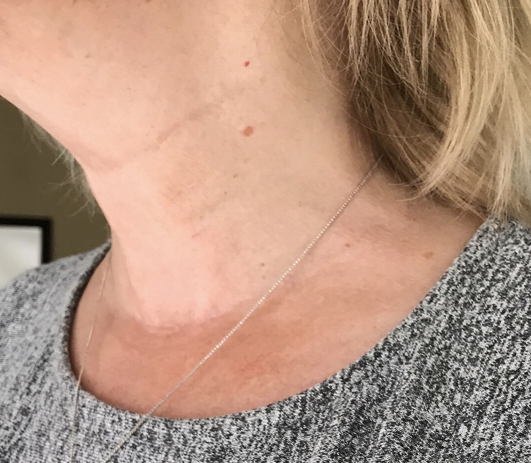 """Jenny M: Week 4 - """" The results are clear, and I have to say my number one take away from using the neck mask and serum is how tight my neck feels after every use and for the next 72 hours as well. My neck doesn't feel stiff or rigid, but looks like it has been lifted. It is incredible to see the difference and I am thankful to find a product like this I know works!"""""""