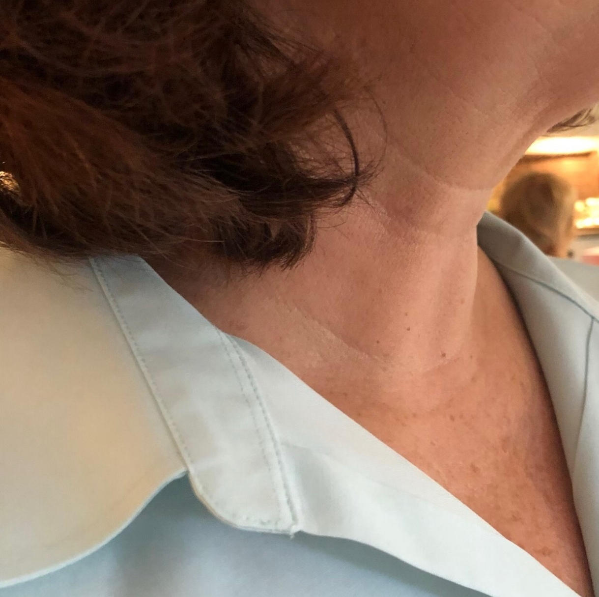 """Judy B: Week 1 - """"In my line of work as a flight attendant, I am constantly using my neck to look down and around either before flights or during with customers and servicing their needs. I didn't know if this would work or aid in my life, but I decided to try it."""""""