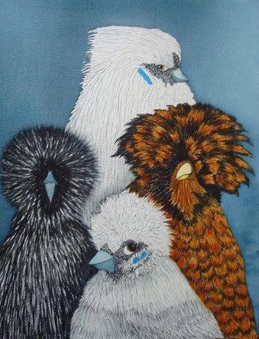Snowball and His Hens - art by Susan Martin