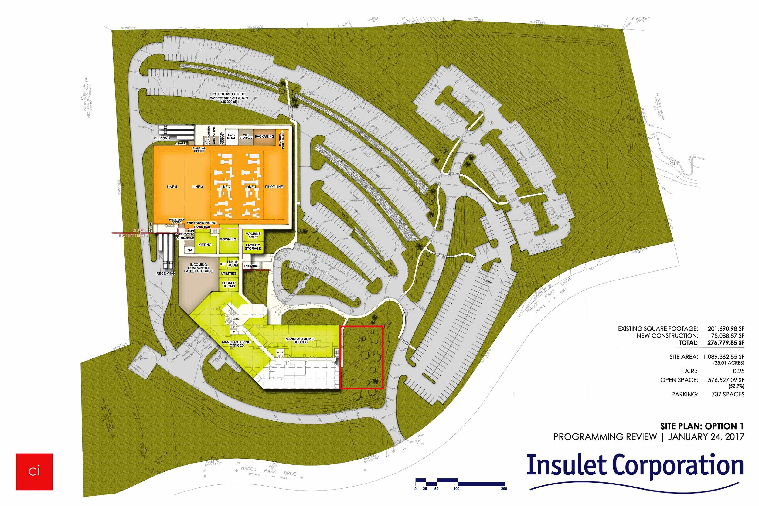 Insulet Corporation - RMA prepared a Traffic Impact and Access Study for a proposed re-use and expansion of an existing office building located on Nagog Park Drive in Acton, Massachusetts.  The prior 201,690 square foot office building was to be re-used and expanded to house the corporate offices of Insulet Corporation.  The expanded building will be 380,859 square feet in size and contain a total of 242,822 square feet of office space, 108,421 square feet of square feet of manufacturing space, and 29,616 square feet of warehousing space.