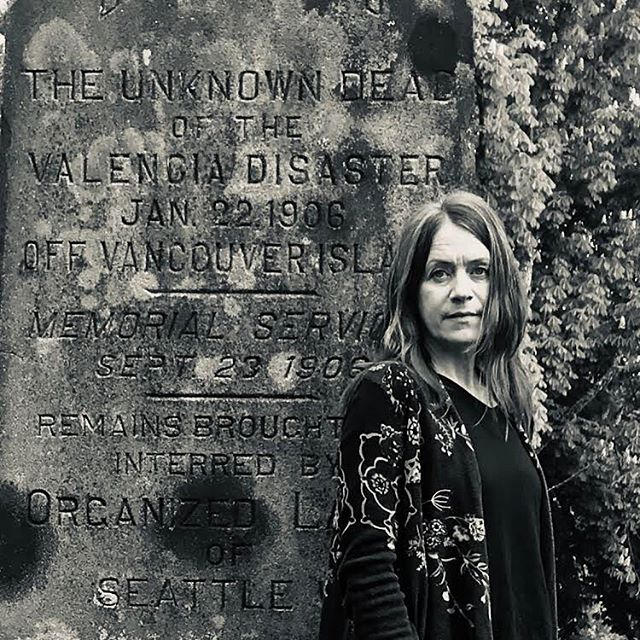"This is @pineola_band's songwriter and frontwoman, Leslie Braly @theselittleroses. She wrote a ghostly beautiful song inspired by the SS Valencia sinking titled ""Shipwrecked."" Here Leslie is at the memorial gravesite on Queen Anne Hill. Hear her song on June 12. #deathsongs #ssvalencia #pnw #pnwmusic"