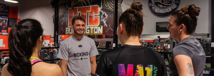 Girls' night out is a lot more fun with the ex-boyfriend beat down! Pro MMA fighter Serhiy Sidey working with the girls during their boxing lesson.