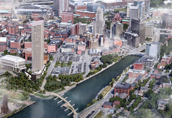 Artist rendering of the proposed Fane tower on the Providence River waterfront.