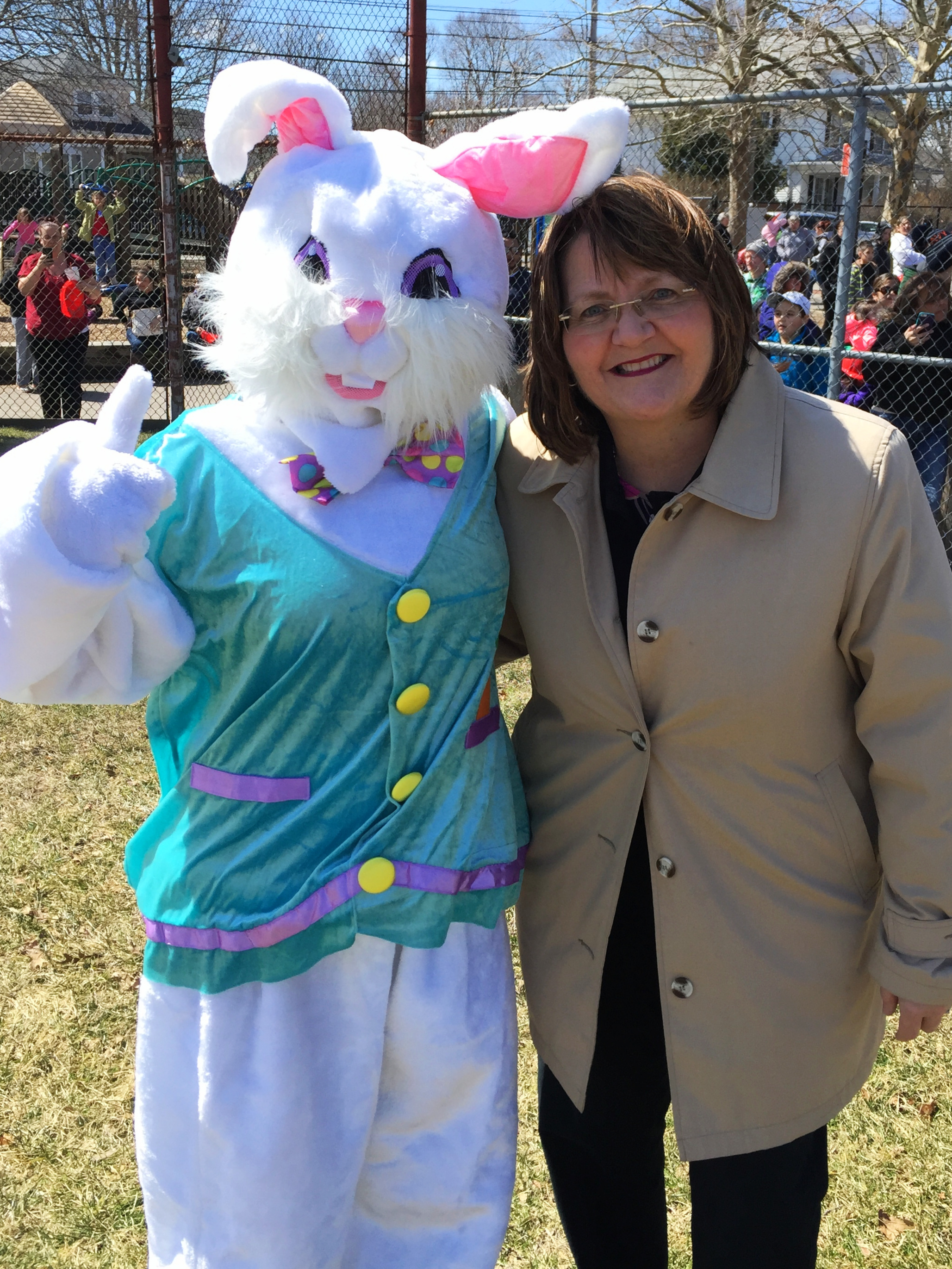 Councilwoman Ryan and a special guest at last years Easter egg hunt