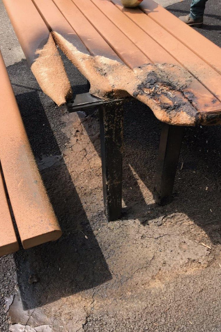Bench and table top fire damage