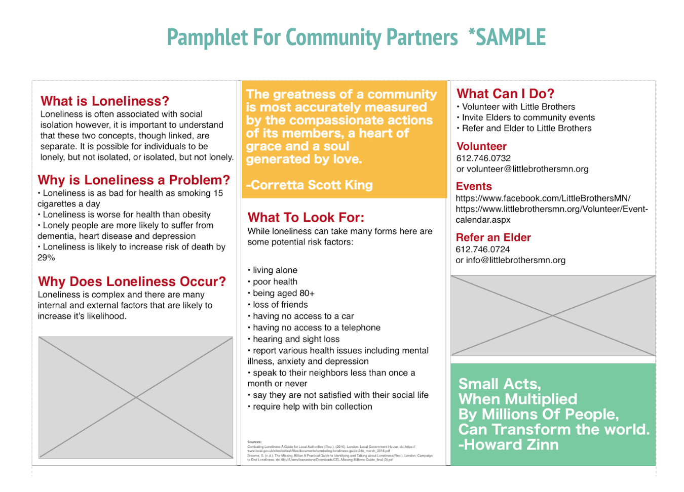 Interior of a trifold flyer for partners