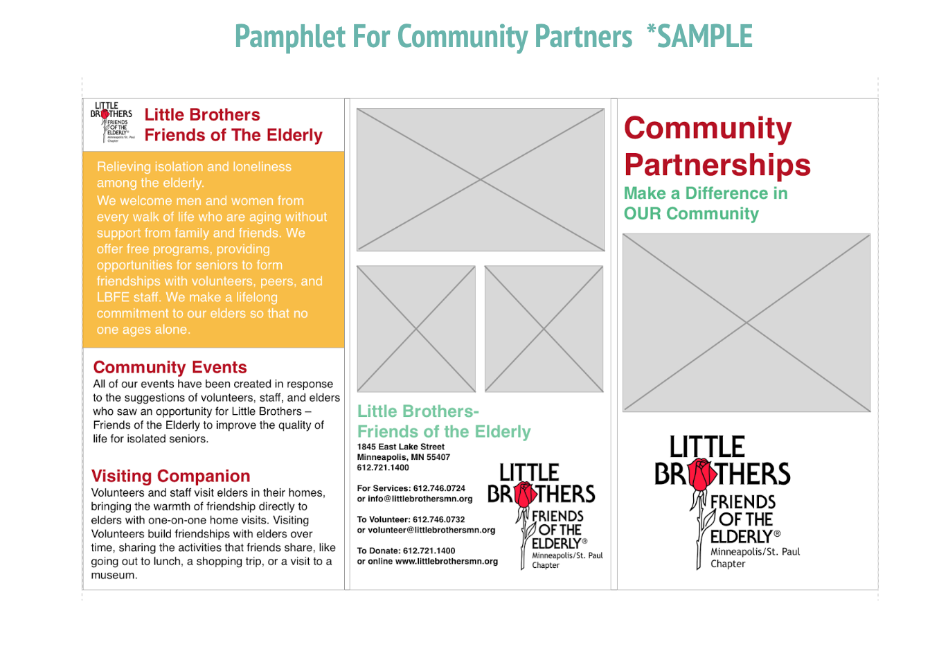 Exterior of a trifold flyer for partners
