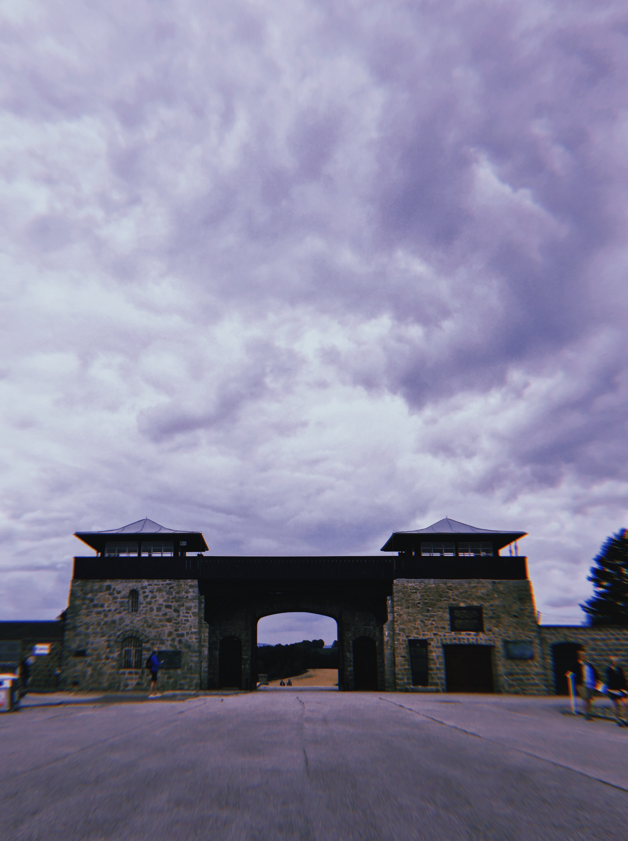 The foreboding and grim main entry gate into the Mauthausen camp.